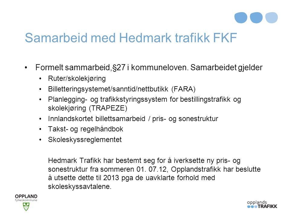 Samarbeid med Hedmark trafikk FKF Formelt sammarbeid,§27 i kommuneloven. Samarbeidet gjelder Ruter/skolekjøring Billetteringsystemet/sanntid/nettbutik