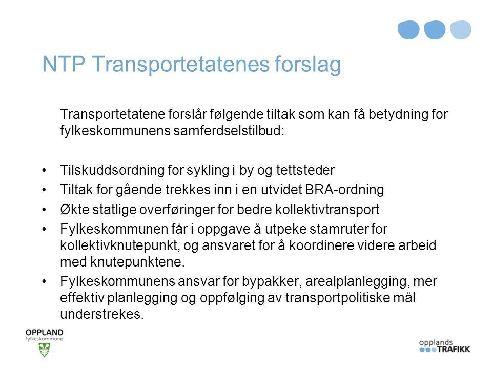 NTP Transportetatenes forslag Transportetatene forslår følgende tiltak som kan få betydning for fylkeskommunens samferdselstilbud: Tilskuddsordning fo