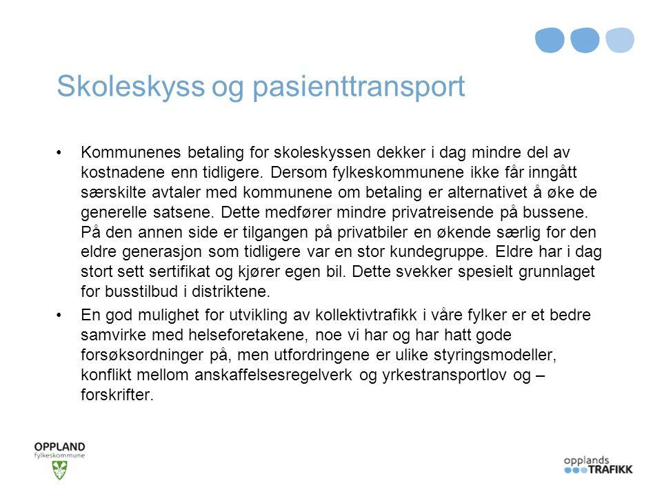 Mjøsbyen Fylkeskommunene vil støtte transportetatenes anbefalinger om økte statlige overføringer for bedre kollektivtransport samtidig som kriteriene for fordeling av rammetilskuddet gjennomgås.