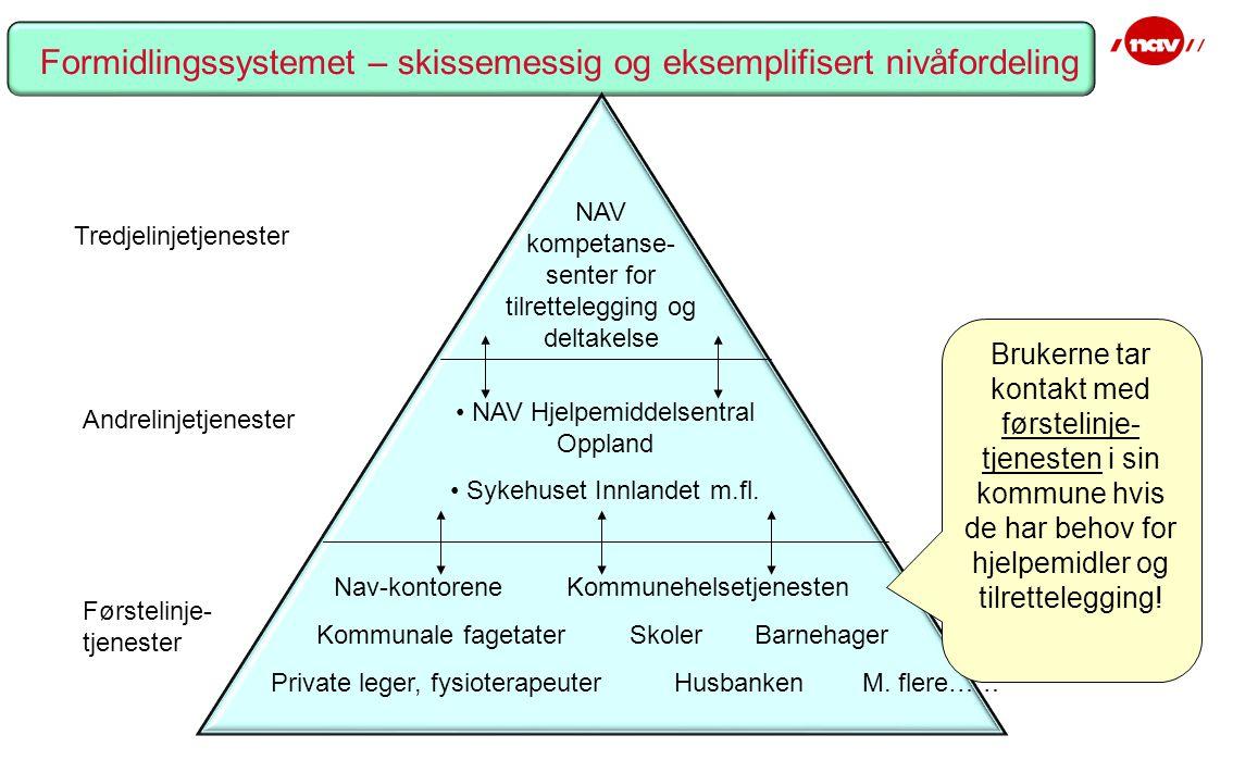 Tredjelinjetjenester Andrelinjetjenester Førstelinje- tjenester NAV kompetanse- senter for tilrettelegging og deltakelse NAV Hjelpemiddelsentral Oppland Sykehuset Innlandet m.fl.