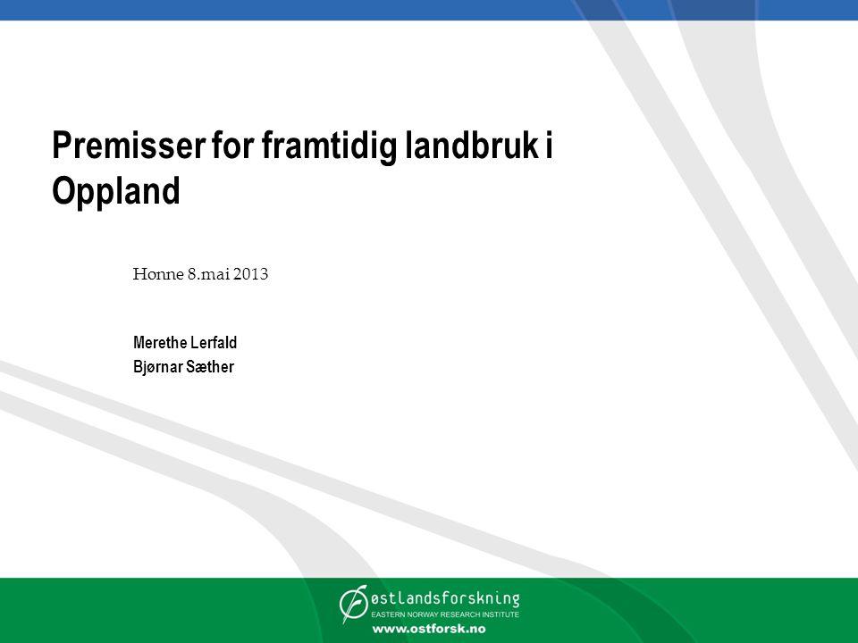 Premisser for framtidig landbruk i Oppland Honne 8.mai 2013 Merethe Lerfald Bjørnar Sæther