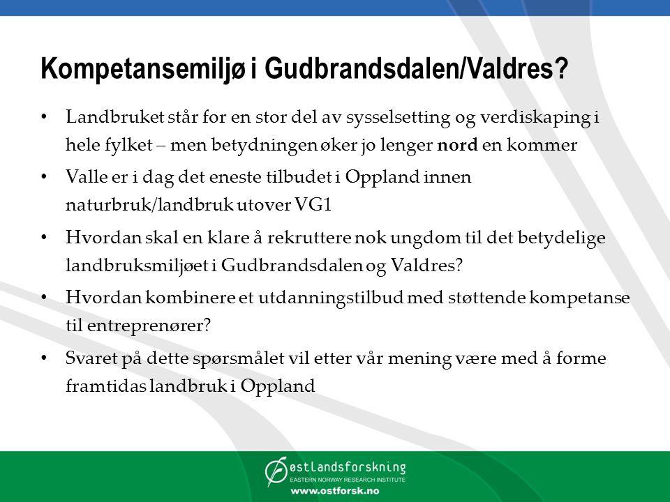Kompetansemiljø i Gudbrandsdalen/Valdres? Landbruket står for en stor del av sysselsetting og verdiskaping i hele fylket – men betydningen øker jo len