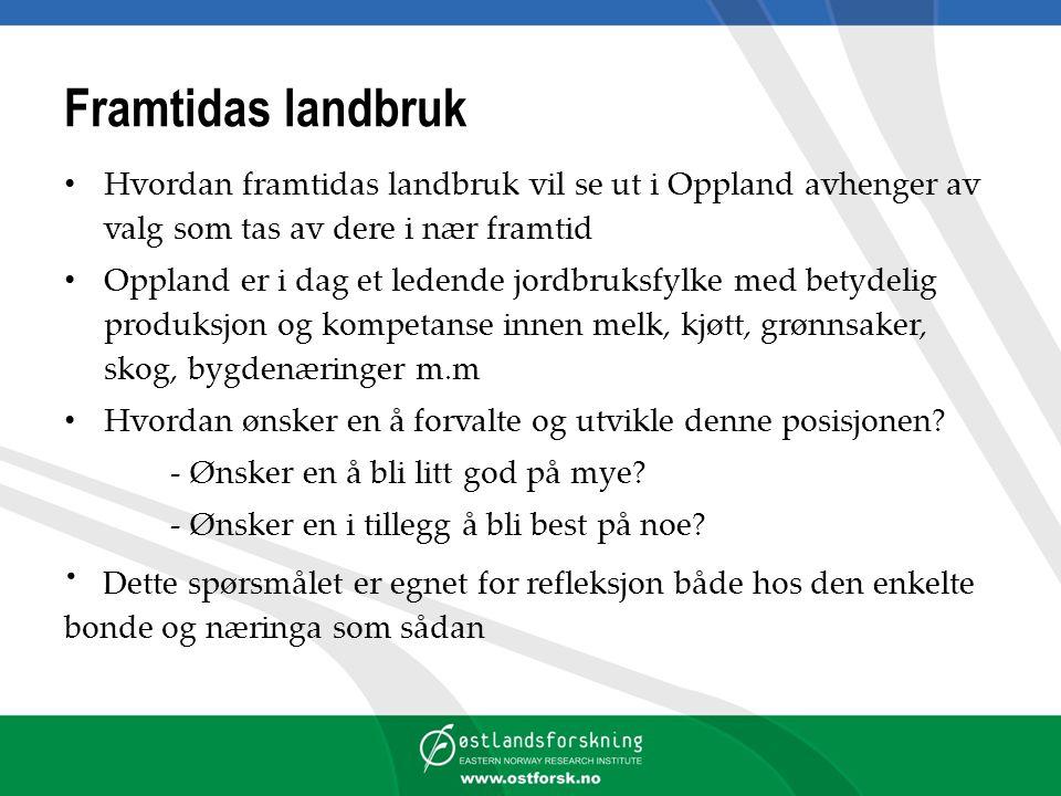 Framtidas landbruk Hvordan framtidas landbruk vil se ut i Oppland avhenger av valg som tas av dere i nær framtid Oppland er i dag et ledende jordbruks
