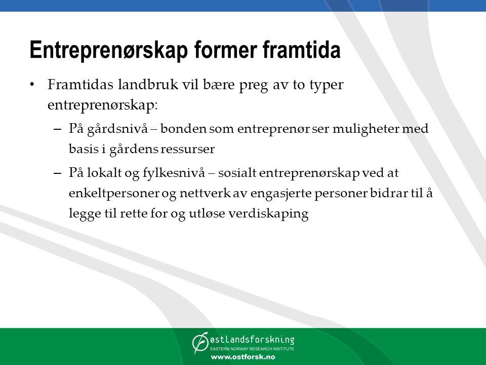 Entreprenørskap former framtida Framtidas landbruk vil bære preg av to typer entreprenørskap: – På gårdsnivå – bonden som entreprenør ser muligheter m