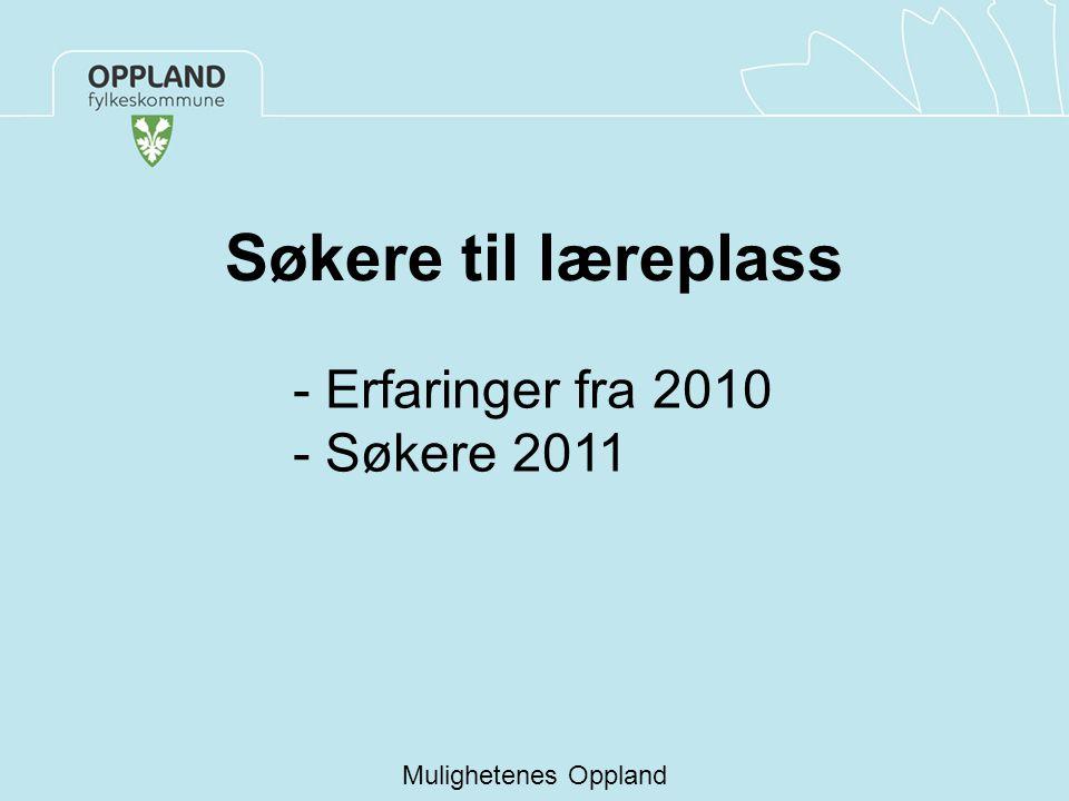 Søkere til læreplass Mulighetenes Oppland - Erfaringer fra 2010 - Søkere 2011