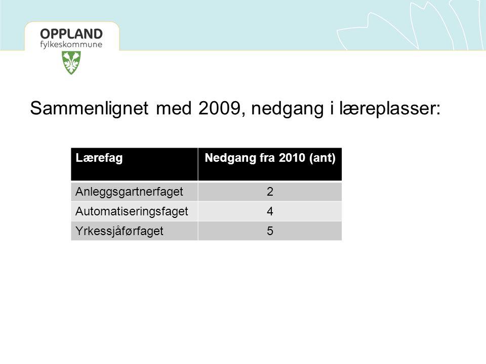 Sammenlignet med 2009, nedgang i læreplasser: LærefagNedgang fra 2010 (ant) Anleggsgartnerfaget2 Automatiseringsfaget4 Yrkessjåførfaget5