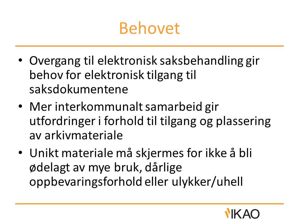 Behovet Overgang til elektronisk saksbehandling gir behov for elektronisk tilgang til saksdokumentene Mer interkommunalt samarbeid gir utfordringer i