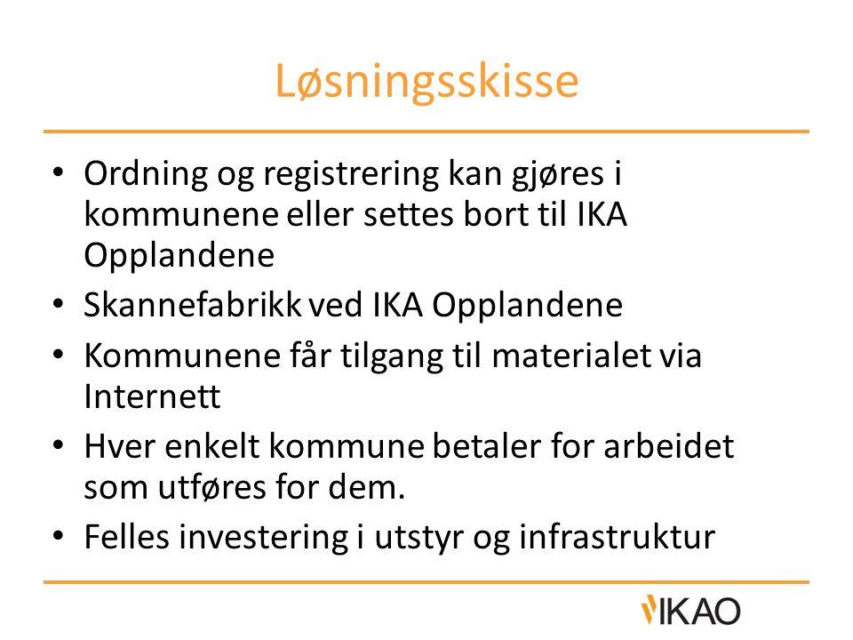 Løsningsskisse Ordning og registrering kan gjøres i kommunene eller settes bort til IKA Opplandene Skannefabrikk ved IKA Opplandene Kommunene får tilg