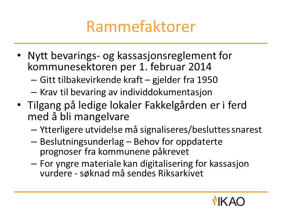 Rammefaktorer Nytt bevarings- og kassasjonsreglement for kommunesektoren per 1.