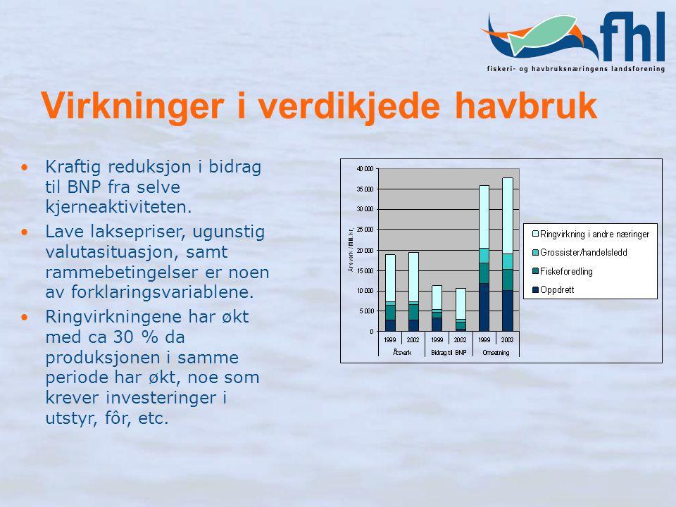 Virkninger i verdikjede havbruk Kraftig reduksjon i bidrag til BNP fra selve kjerneaktiviteten. Lave laksepriser, ugunstig valutasituasjon, samt ramme