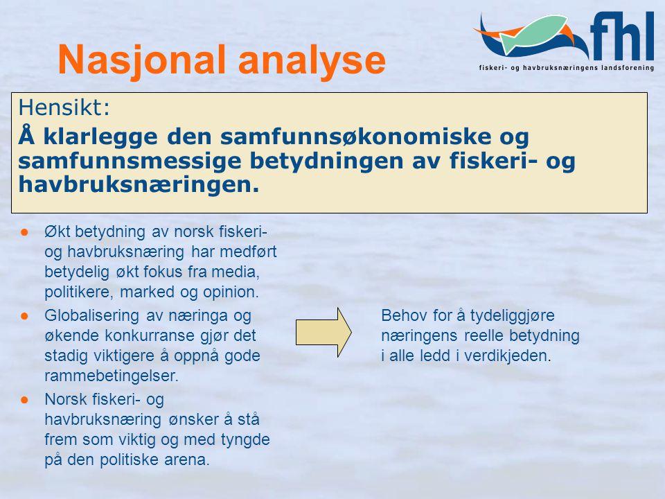 Nasjonal analyse Hensikt: Å klarlegge den samfunnsøkonomiske og samfunnsmessige betydningen av fiskeri- og havbruksnæringen. ●Økt betydning av norsk f