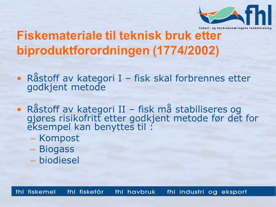 Fiskemateriale til teknisk bruk etter biproduktforordningen (1774/2002) Råstoff av kategori I – fisk skal forbrennes etter godkjent metode Råstoff av kategori II – fisk må stabiliseres og gjøres risikofritt etter godkjent metode før det for eksempel kan benyttes til : – Kompost – Biogass – biodiesel