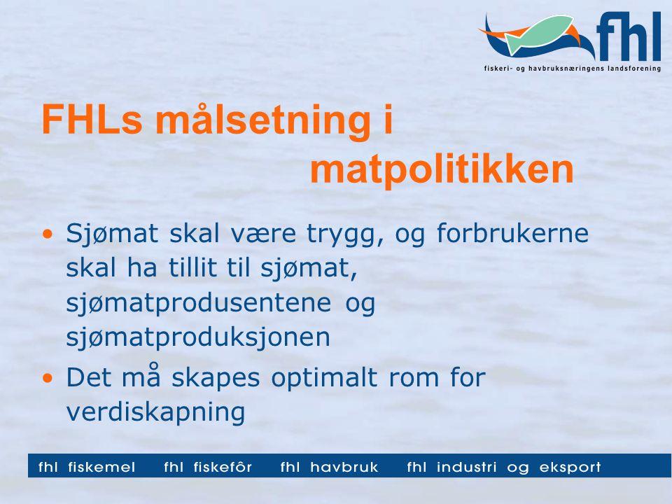 FHLs målsetning i matpolitikken Sjømat skal være trygg, og forbrukerne skal ha tillit til sjømat, sjømatprodusentene og sjømatproduksjonen Det må skapes optimalt rom for verdiskapning