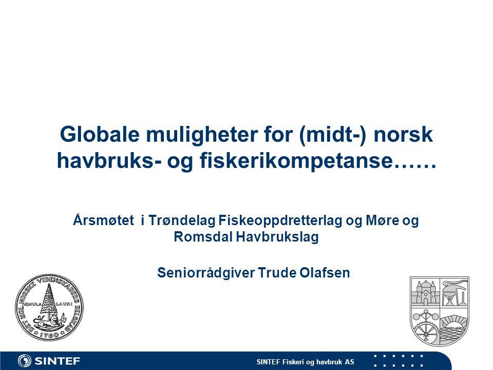 SINTEF Fiskeri og havbruk AS Muligheter for norsk ekspertise innen marin industri 1.