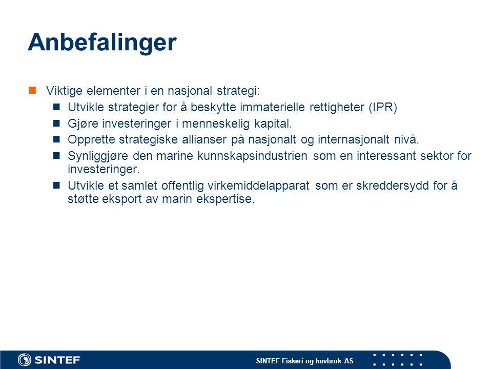 SINTEF Fiskeri og havbruk AS Anbefalinger Viktige elementer i en nasjonal strategi: Utvikle strategier for å beskytte immaterielle rettigheter (IPR) Gjøre investeringer i menneskelig kapital.