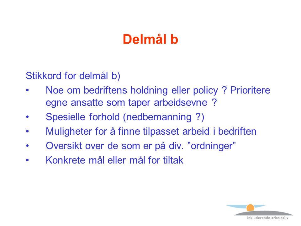 Delmål b Stikkord for delmål b) Noe om bedriftens holdning eller policy .