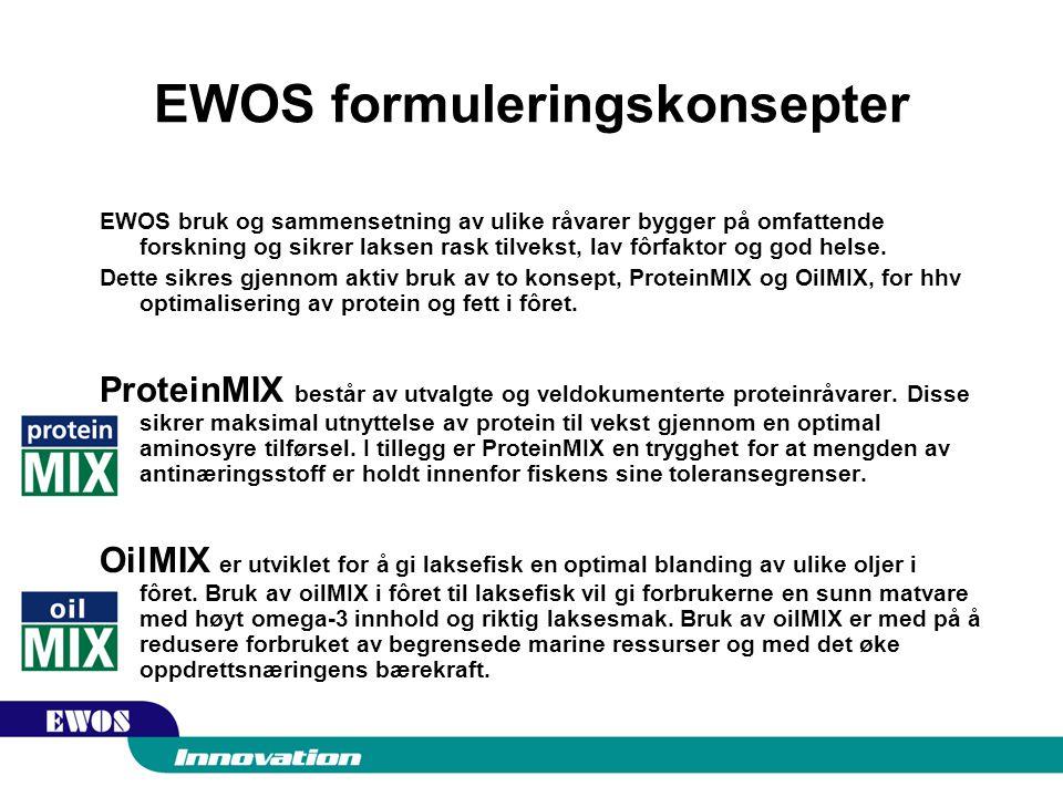 EWOS formuleringskonsepter EWOS bruk og sammensetning av ulike råvarer bygger på omfattende forskning og sikrer laksen rask tilvekst, lav fôrfaktor og god helse.