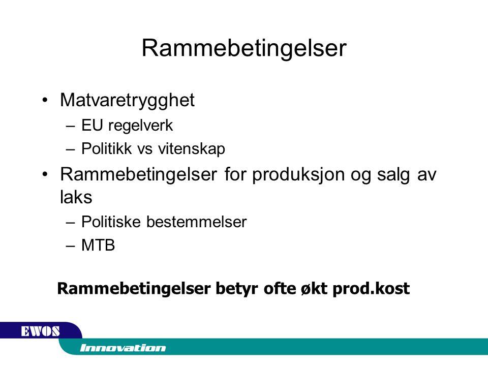 Rammebetingelser Matvaretrygghet –EU regelverk –Politikk vs vitenskap Rammebetingelser for produksjon og salg av laks –Politiske bestemmelser –MTB Rammebetingelser betyr ofte økt prod.kost