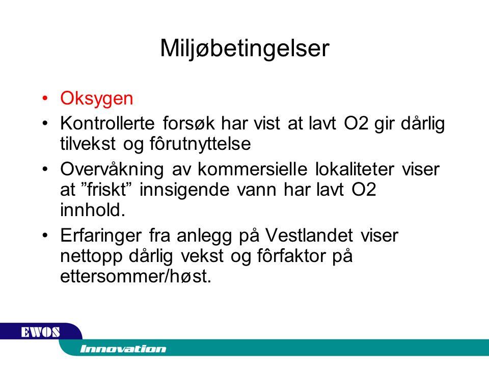 Miljøbetingelser Oksygen Kontrollerte forsøk har vist at lavt O2 gir dårlig tilvekst og fôrutnyttelse Overvåkning av kommersielle lokaliteter viser at friskt innsigende vann har lavt O2 innhold.