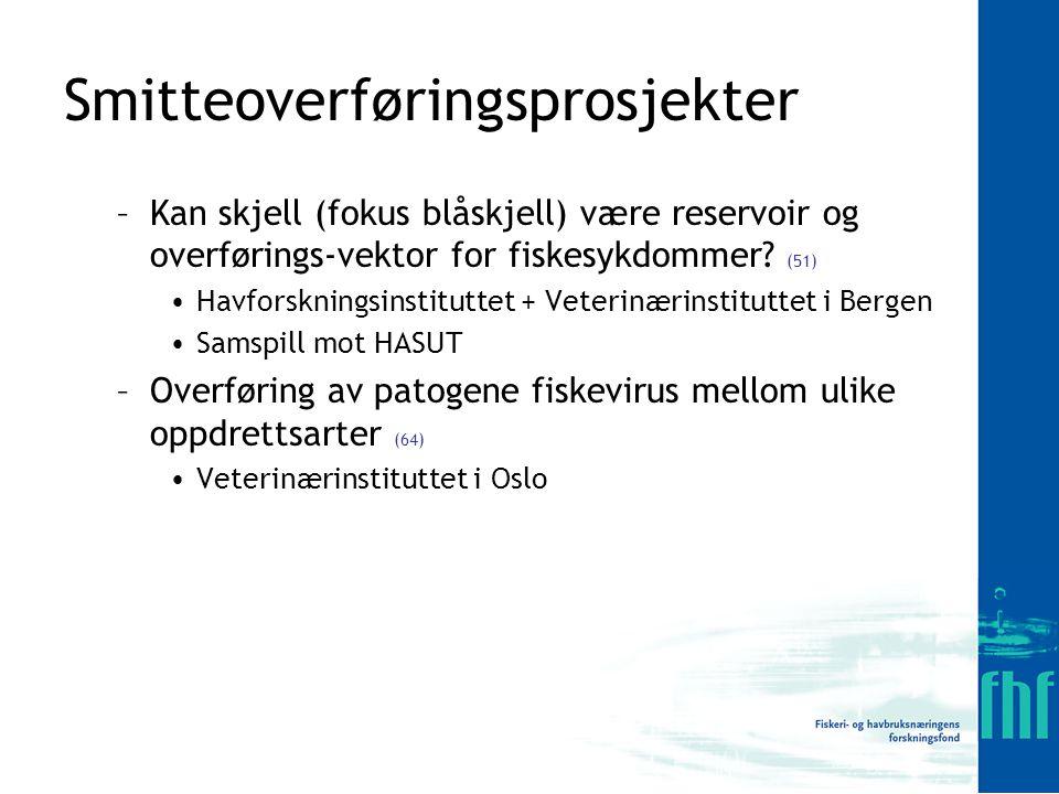 Smitteoverføringsprosjekter –Kan skjell (fokus blåskjell) være reservoir og overførings-vektor for fiskesykdommer.