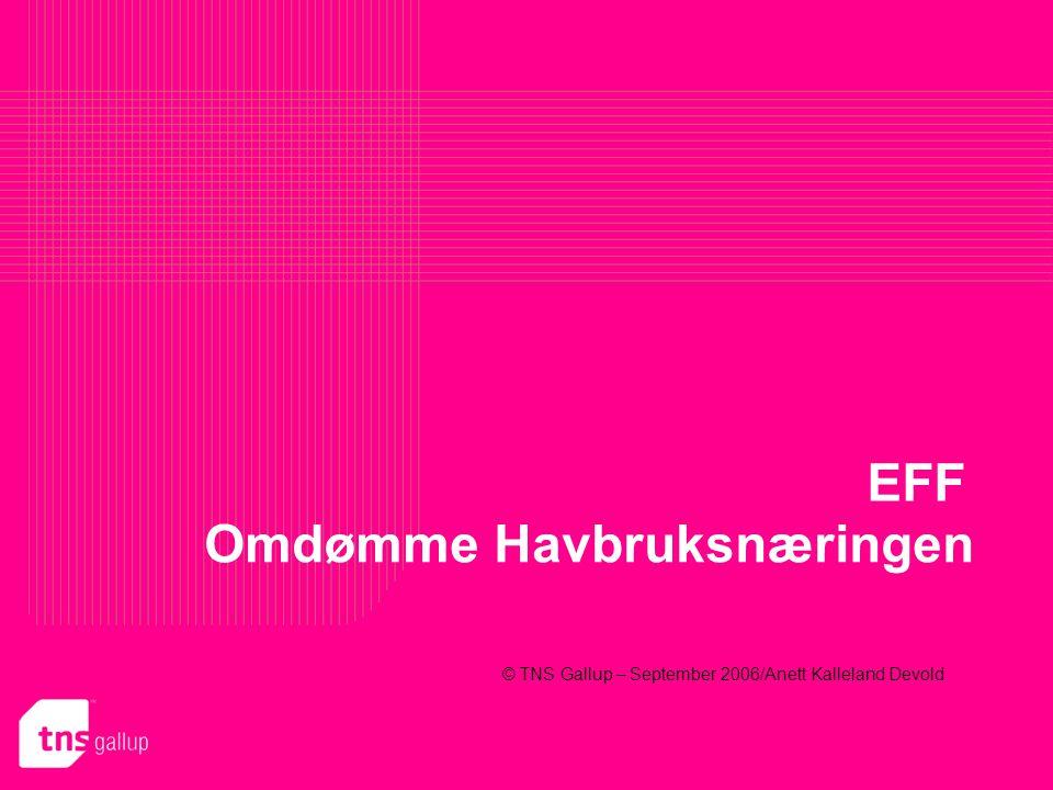 TNS GALLUP Anett Kalleland Devold Prosjekt 585887 2 Om undersøkelsen Bakgrunn/Formål EFF (Eksportutvalget For Fisk) ønsker å kartlegge omdømme til norsk havbruksnæring.