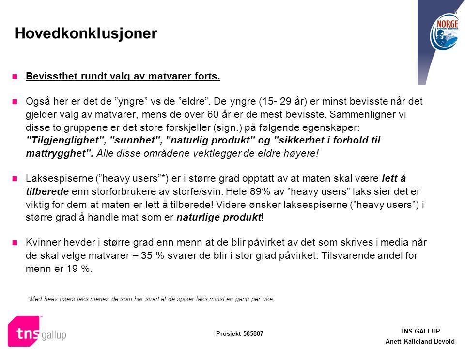 """TNS GALLUP Anett Kalleland Devold Prosjekt 585887 6 Hovedkonklusjoner Bevissthet rundt valg av matvarer forts. Også her er det de """"yngre"""" vs de """"eldre"""