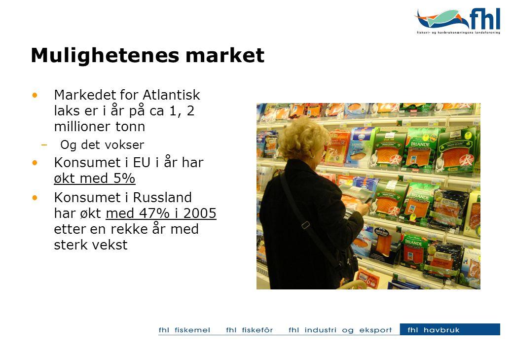 Mulighetenes market Markedet for Atlantisk laks er i år på ca 1, 2 millioner tonn –Og det vokser Konsumet i EU i år har økt med 5% Konsumet i Russland har økt med 47% i 2005 etter en rekke år med sterk vekst