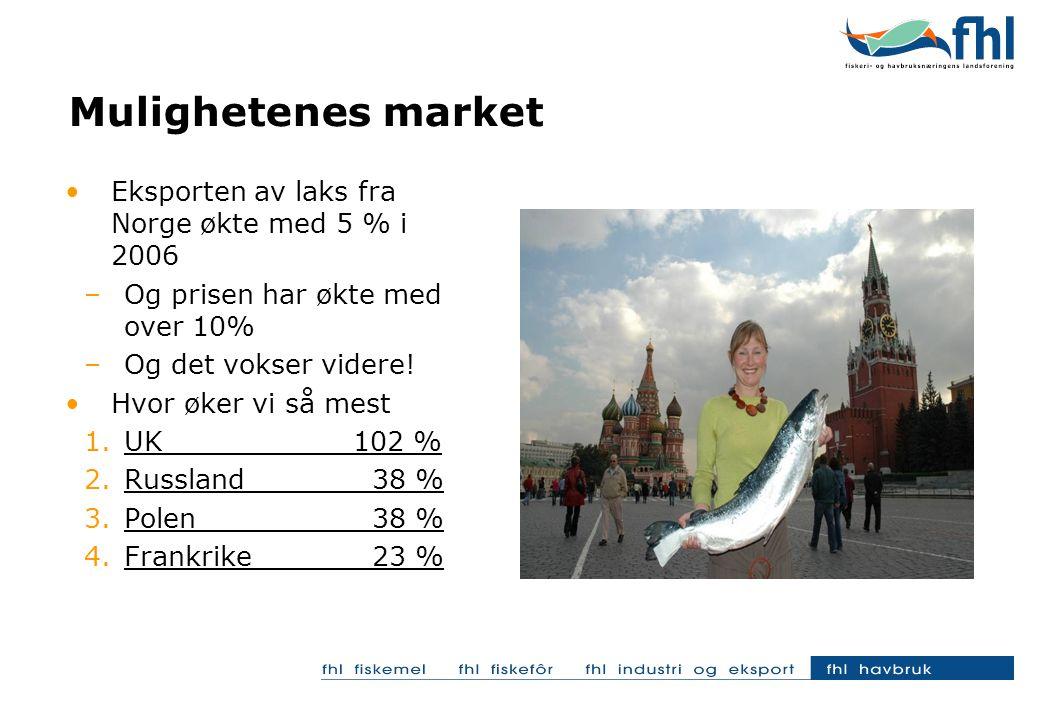 Mulighetenes market Eksporten av laks fra Norge økte med 5 % i 2006 –Og prisen har økte med over 10% –Og det vokser videre.