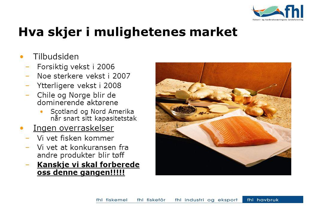 Hva skjer i mulighetenes market Tilbudsiden –Forsiktig vekst i 2006 –Noe sterkere vekst i 2007 –Ytterligere vekst i 2008 –Chile og Norge blir de dominerende aktørene Scotland og Nord Amerika når snart sitt kapasitetstak Ingen overraskelser –Vi vet fisken kommer –Vi vet at konkuransen fra andre produkter blir tøff –Kanskje vi skal forberede oss denne gangen!!!!!