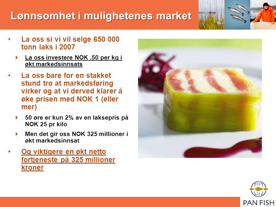 Lønnsomhet i mulighetenes market La oss si vi vil selge 650 000 tonn laks i 2007  La oss investere NOK,50 per kg i økt markedsinnsats La oss bare for