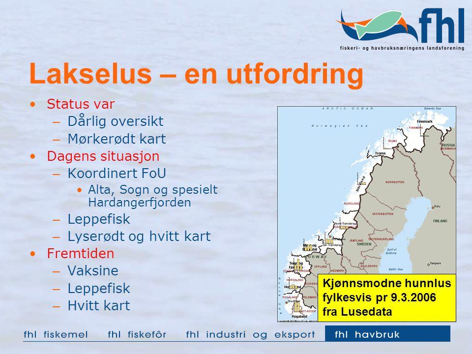 Lakselus – en utfordring Status var – Dårlig oversikt – Mørkerødt kart Dagens situasjon – Koordinert FoU Alta, Sogn og spesielt Hardangerfjorden – Lep