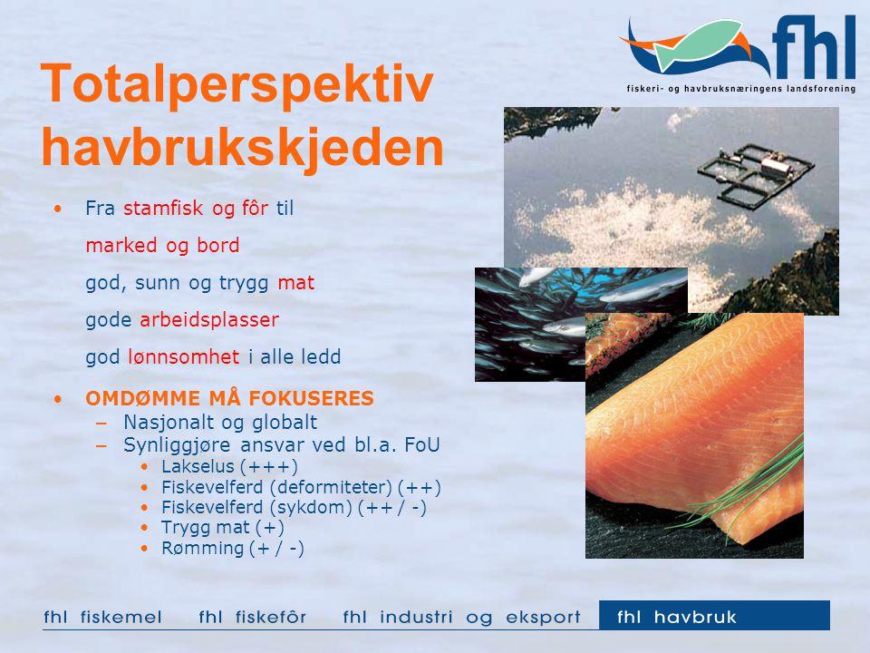 Totalperspektiv havbrukskjeden Fra stamfisk og fôr til marked og bord god, sunn og trygg mat gode arbeidsplasser god lønnsomhet i alle ledd OMDØMME MÅ