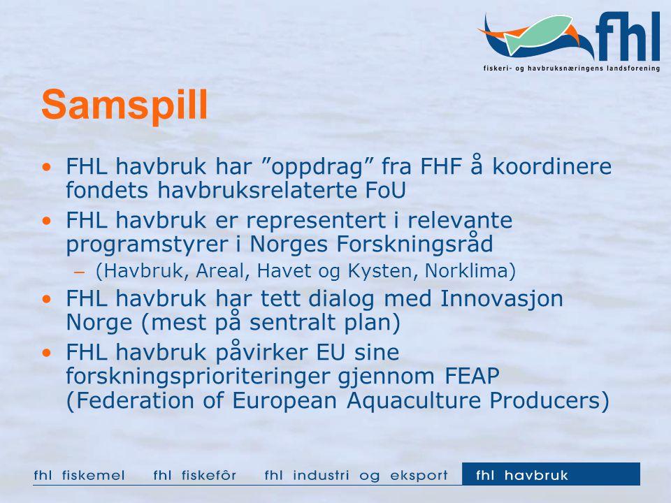 """Samspill FHL havbruk har """"oppdrag"""" fra FHF å koordinere fondets havbruksrelaterte FoU FHL havbruk er representert i relevante programstyrer i Norges F"""