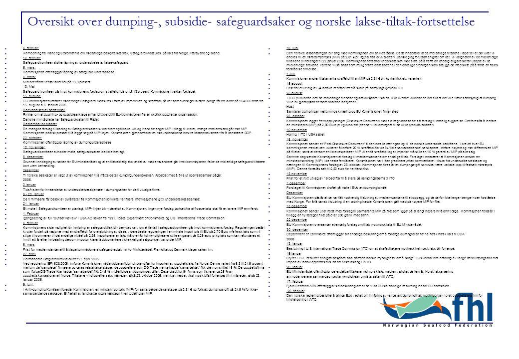 Oversikt over dumping-, subsidie- safeguardsaker og norske lakse-tiltak-fortsettelse 16.