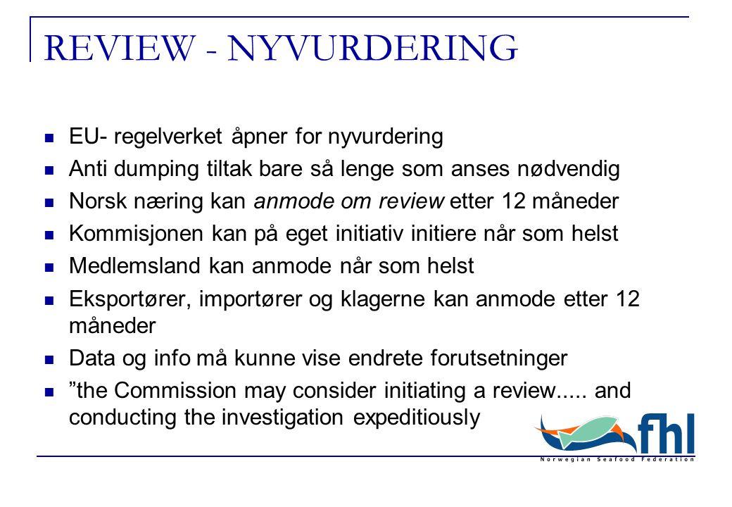 REVIEW - NYVURDERING EU- regelverket åpner for nyvurdering Anti dumping tiltak bare så lenge som anses nødvendig Norsk næring kan anmode om review etter 12 måneder Kommisjonen kan på eget initiativ initiere når som helst Medlemsland kan anmode når som helst Eksportører, importører og klagerne kan anmode etter 12 måneder Data og info må kunne vise endrete forutsetninger the Commission may consider initiating a review.....