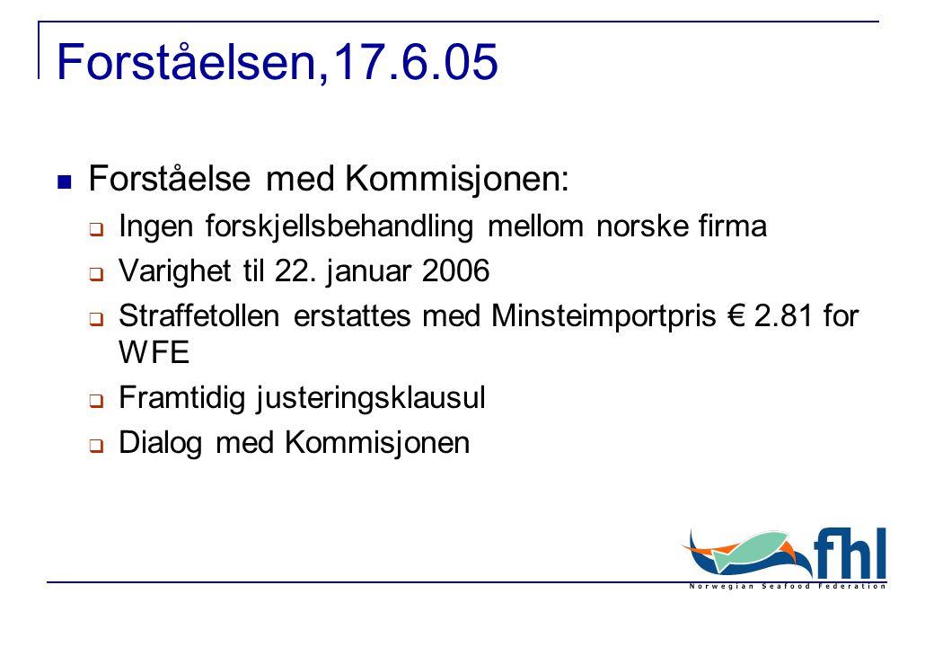 Forståelsen,17.6.05 Forståelse med Kommisjonen:  Ingen forskjellsbehandling mellom norske firma  Varighet til 22.