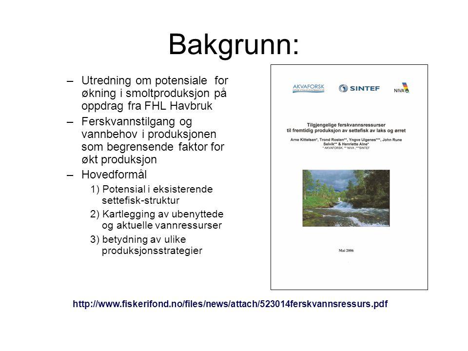 Bakgrunn: –Utredning om potensiale for økning i smoltproduksjon på oppdrag fra FHL Havbruk –Ferskvannstilgang og vannbehov i produksjonen som begrense