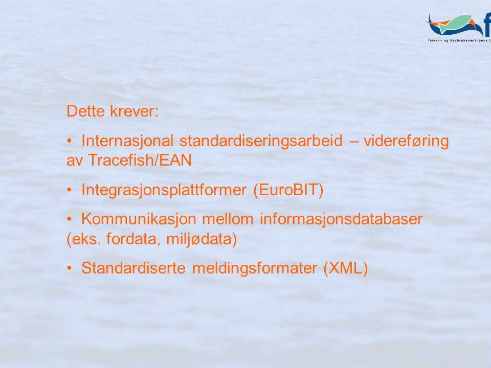 Dette krever: Internasjonal standardiseringsarbeid – videreføring av Tracefish/EAN Integrasjonsplattformer (EuroBIT) Kommunikasjon mellom informasjonsdatabaser (eks.