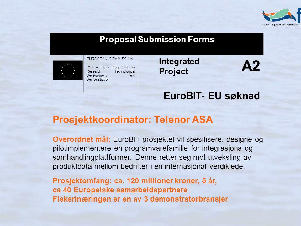 Integrated Project A2 Proposal Submission Forms EUROPEAN COMMISSION 6 th Framework Programme for Research, Technological Development and Demonstration Prosjektkoordinator: Telenor ASA Overordnet mål: EuroBIT prosjektet vil spesifisere, designe og pilotimplementere en programvarefamilie for integrasjons og samhandlingplattformer.