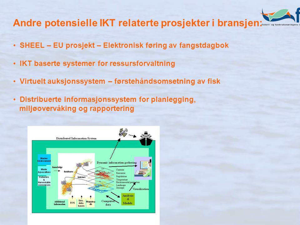 Andre potensielle IKT relaterte prosjekter i bransjen: SHEEL – EU prosjekt – Elektronisk føring av fangstdagbok IKT baserte systemer for ressursforvaltning Virtuelt auksjonssystem – førstehåndsomsetning av fisk Distribuerte informasjonssystem for planlegging, miljøovervåking og rapportering