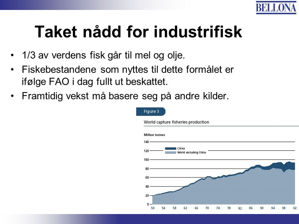 Bellona-konferansen, 3. juni 2003 Taket nådd for industrifisk 1/3 av verdens fisk går til mel og olje. Fiskebestandene som nyttes til dette formålet e