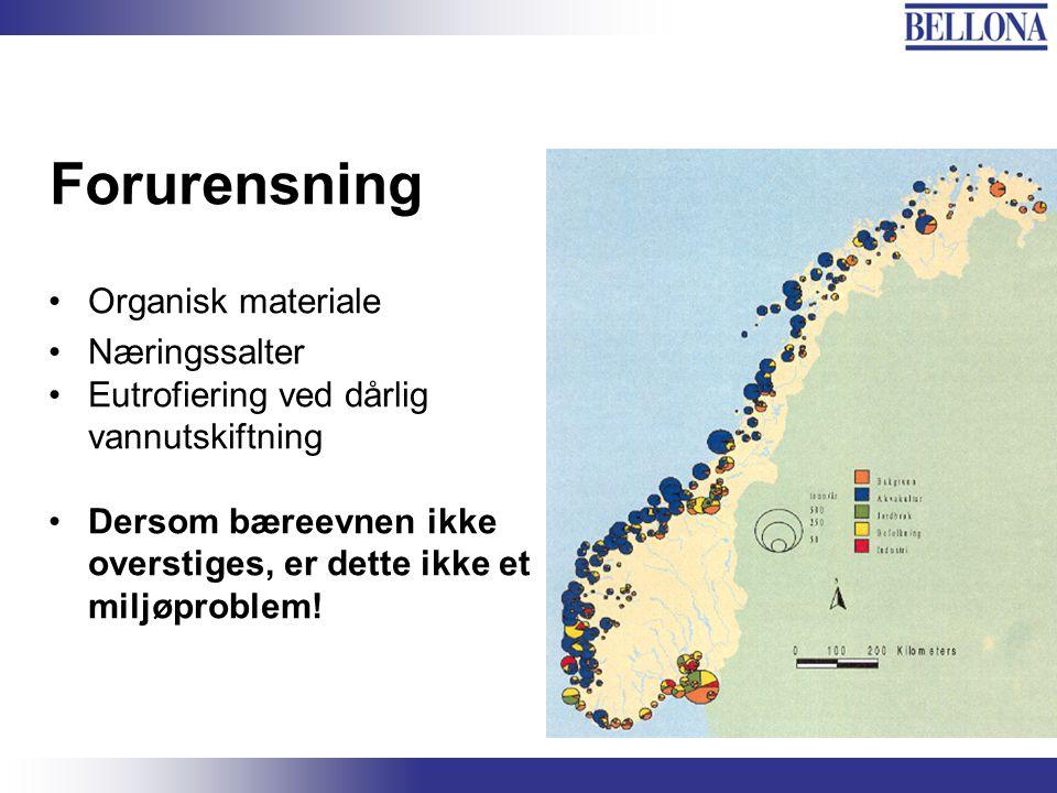 Bellona-konferansen, 3. juni 2003 Forurensning Organisk materiale Næringssalter Eutrofiering ved dårlig vannutskiftning Dersom bæreevnen ikke overstig