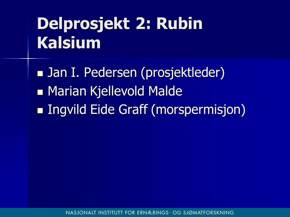 Delprosjekt 2: Rubin Kalsium Jan I. Pedersen (prosjektleder) Jan I. Pedersen (prosjektleder) Marian Kjellevold Malde Marian Kjellevold Malde Ingvild E