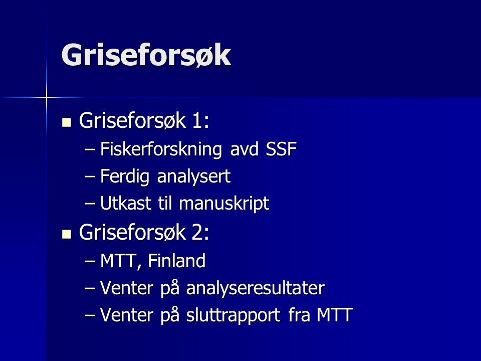 Griseforsøk Griseforsøk 1: Griseforsøk 1: –Fiskerforskning avd SSF –Ferdig analysert –Utkast til manuskript Griseforsøk 2: Griseforsøk 2: –MTT, Finlan