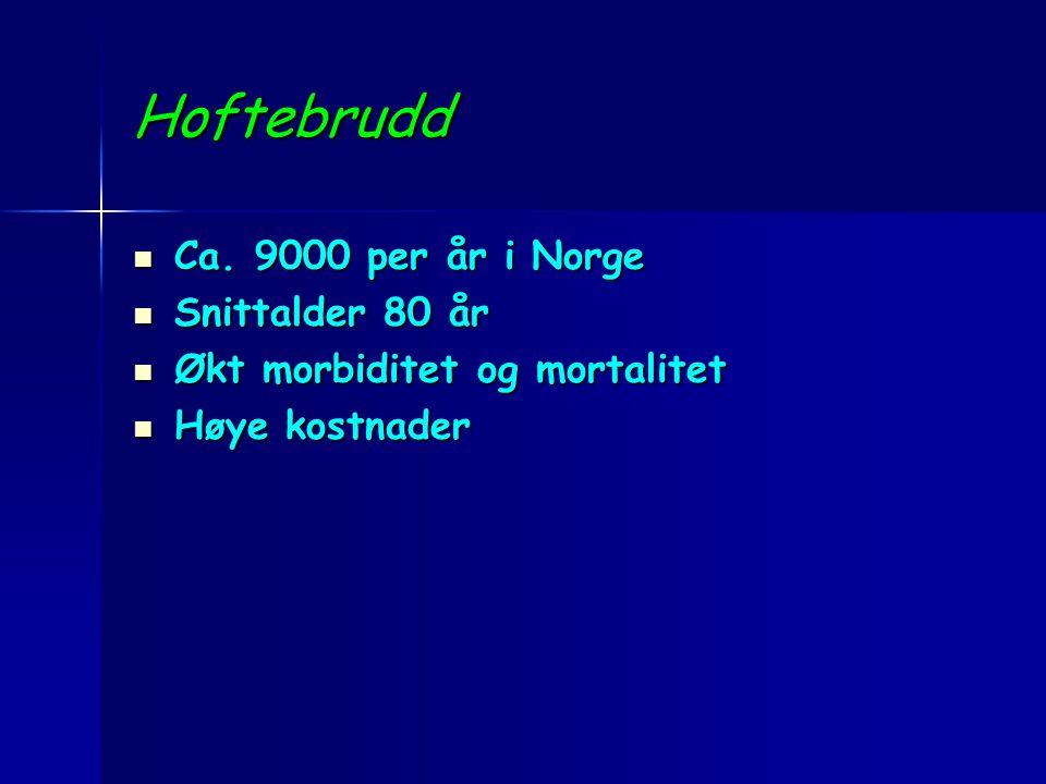 Hoftebrudd Ca. 9000 per år i Norge Ca. 9000 per år i Norge Snittalder 80 år Snittalder 80 år Økt morbiditet og mortalitet Økt morbiditet og mortalitet