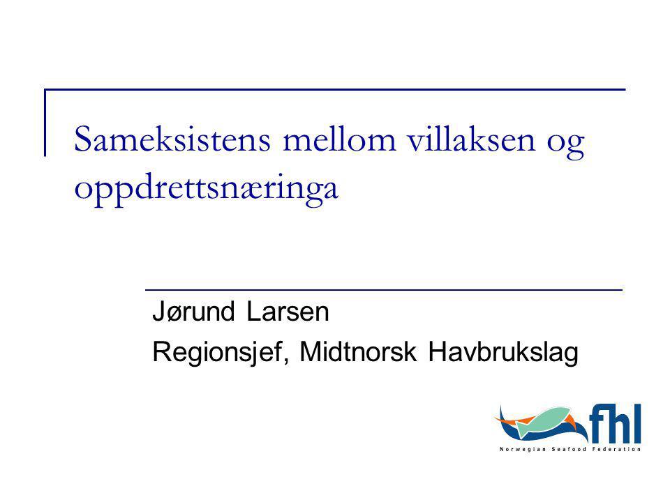 Sameksistens mellom villaksen og oppdrettsnæringa Jørund Larsen Regionsjef, Midtnorsk Havbrukslag