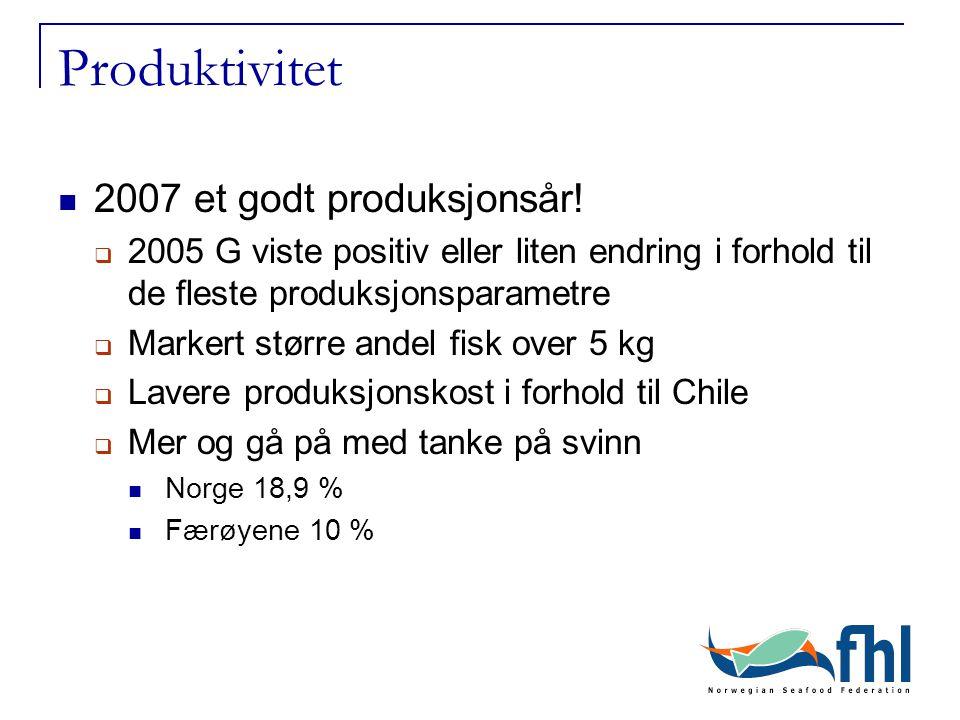 Produktivitet 2007 et godt produksjonsår!  2005 G viste positiv eller liten endring i forhold til de fleste produksjonsparametre  Markert større and