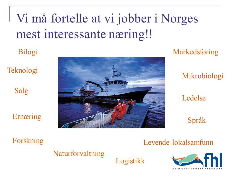 Levende lokalsamfunn Bilogi Teknologi Forskning Mikrobiologi Naturforvaltning Markedsføring Vi må fortelle at vi jobber i Norges mest interessante næring!.