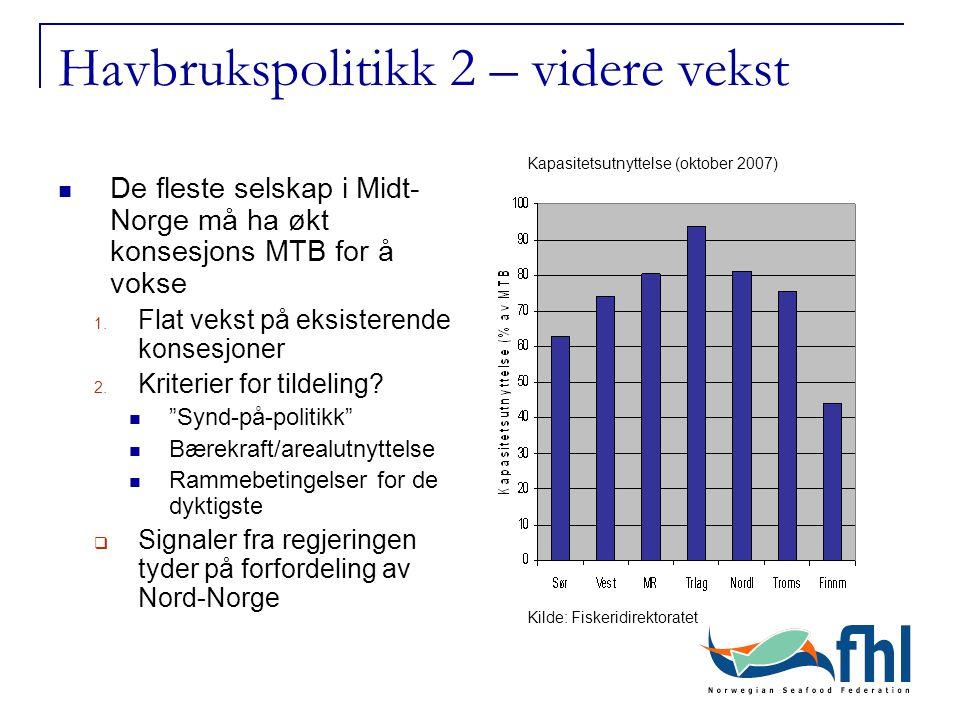 Havbrukspolitikk 2 – videre vekst De fleste selskap i Midt- Norge må ha økt konsesjons MTB for å vokse 1. Flat vekst på eksisterende konsesjoner 2. Kr