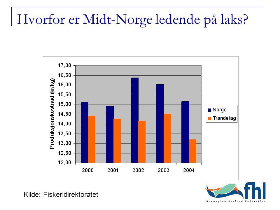 Hvorfor er Midt-Norge ledende på laks Kilde: Fiskeridirektoratet